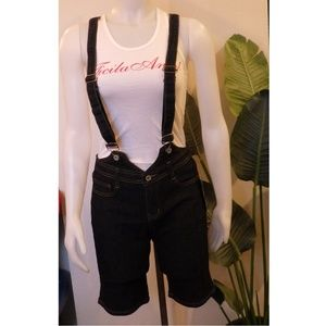 NWT Be Girl Black Denim Overalls Shorts Jumpsuit M
